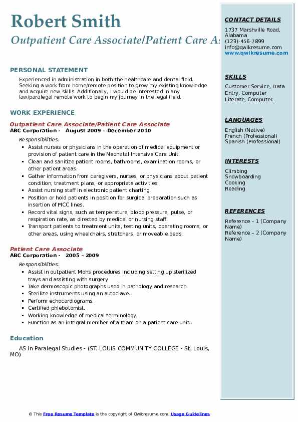 Outpatient Care Associate/Patient Care Associate Resume Format