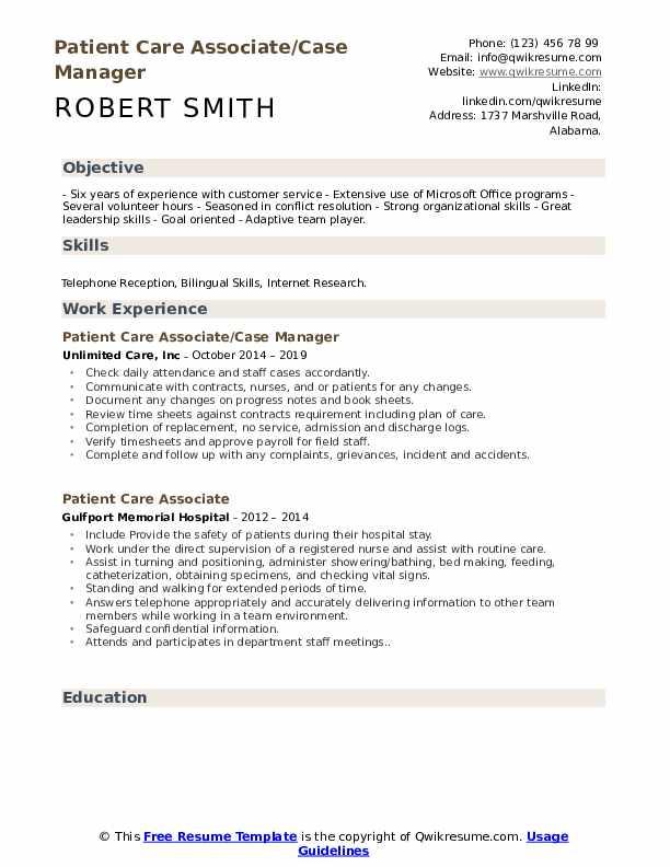 Patient Care Associate/Case Manager Resume Model