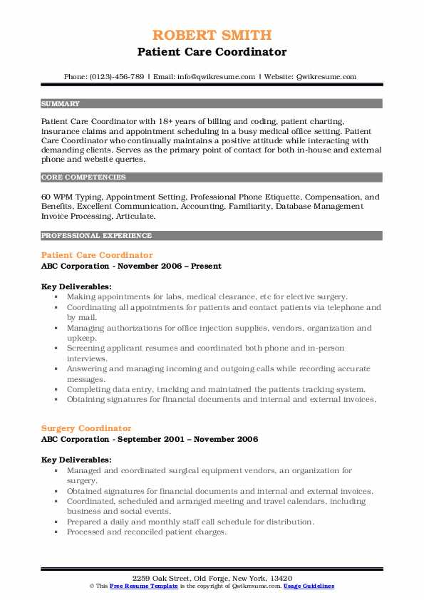 Patient Care Coordinator Resume Samples Qwikresume