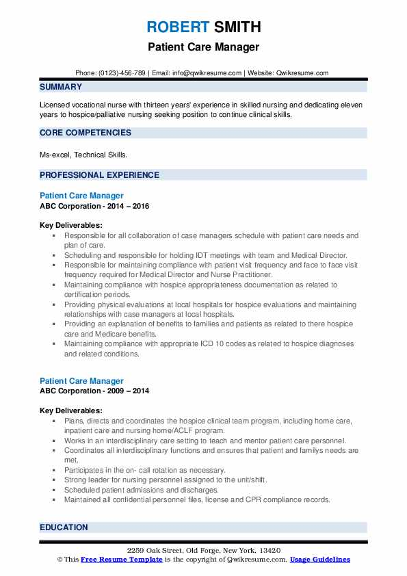 Patient Care Manager Resume example