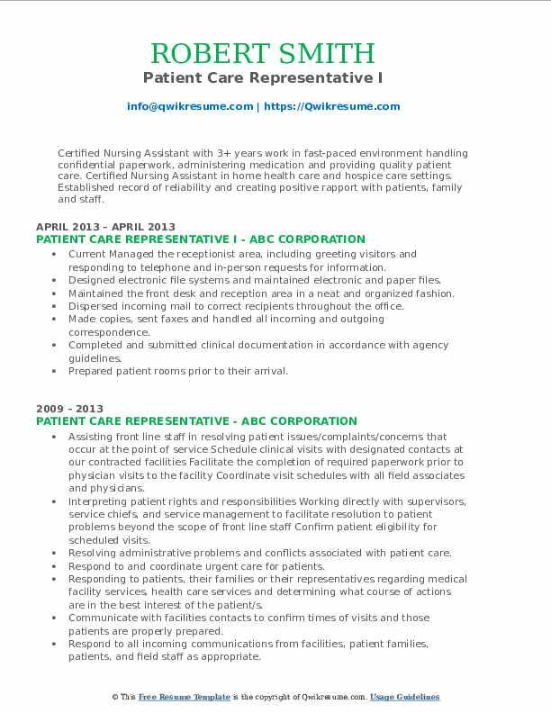 patient care representative resume samples  qwikresume