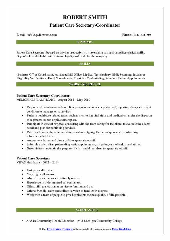 Patient Care Secretary-Coordinator Resume Template