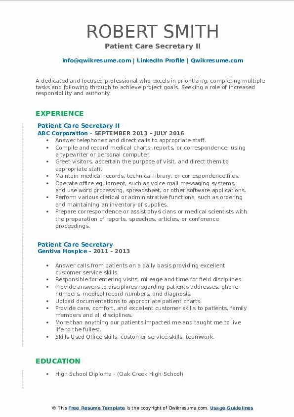 Patient Care Secretary II Resume Model