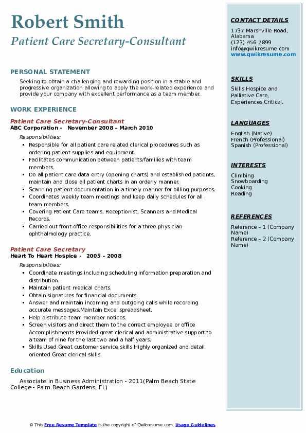 Patient Care Secretary-Consultant Resume Sample