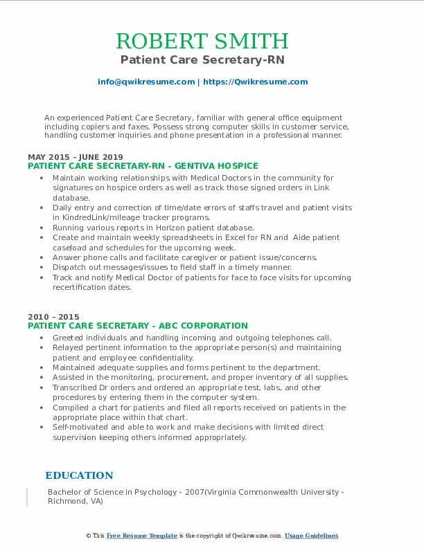 Patient Care Secretary-RN Resume Model