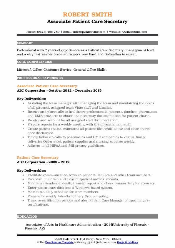 Associate Patient Care Secretary Resume Example