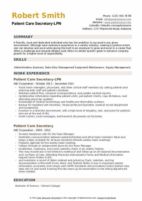 Patient Care Secretary-LPN Resume Sample