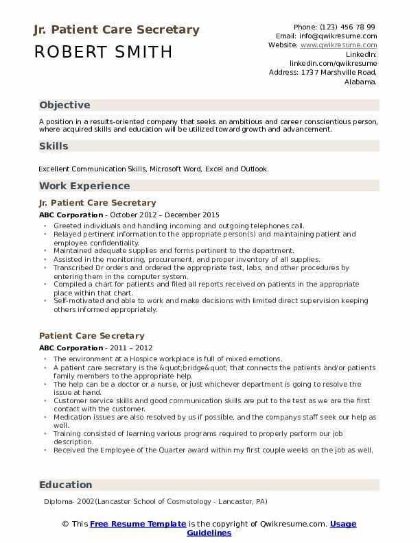 Jr. Patient Care Secretary Resume Template