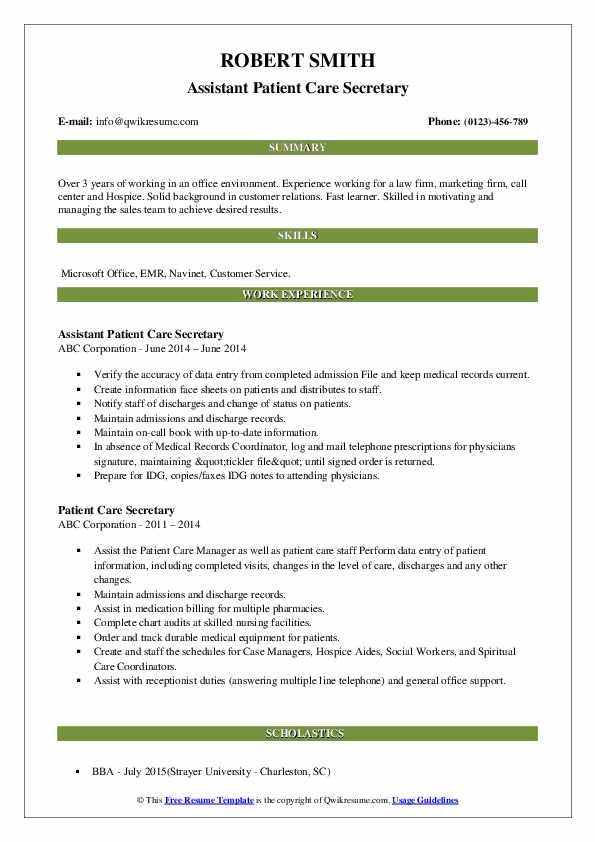 Assistant Patient Care Secretary Resume Sample