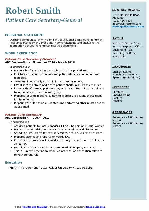 Patient Care Secretary-General Resume Format