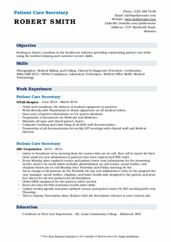 Patient Care Secretary Resume example