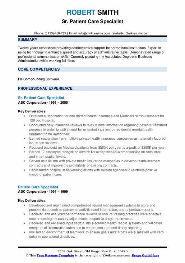 Sr. Patient Care Specialist Resume Format
