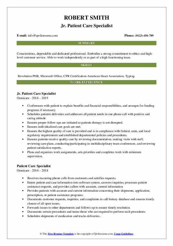 Jr. Patient Care Specialist Resume Model