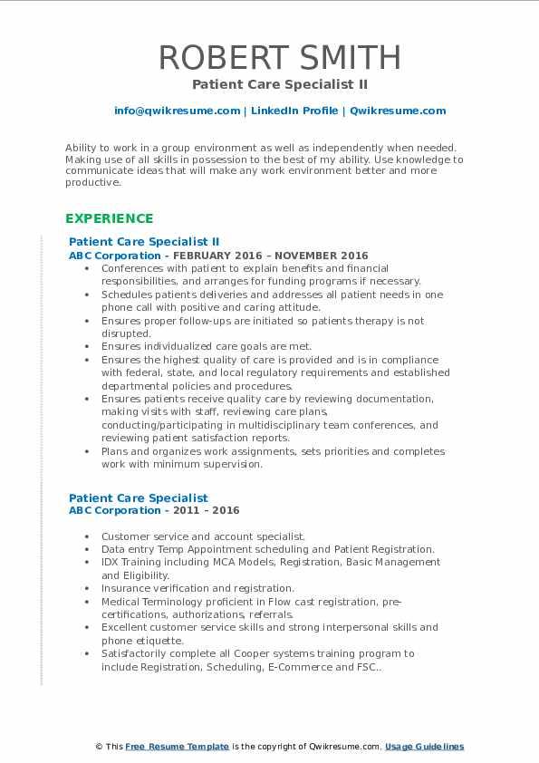Patient Care Specialist II Resume Format