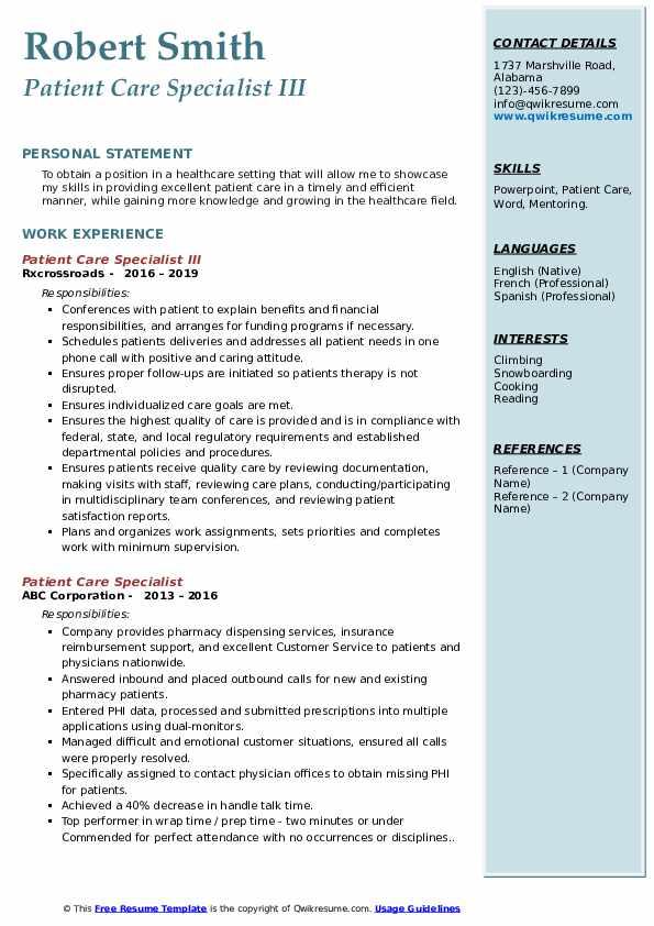 Patient Care Specialist III Resume Example