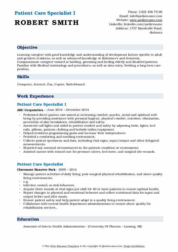 Patient Care Specialist I Resume Sample