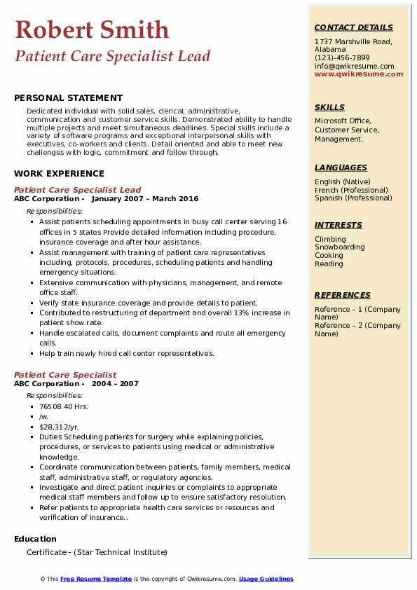 Patient Care Specialist Lead Resume Template