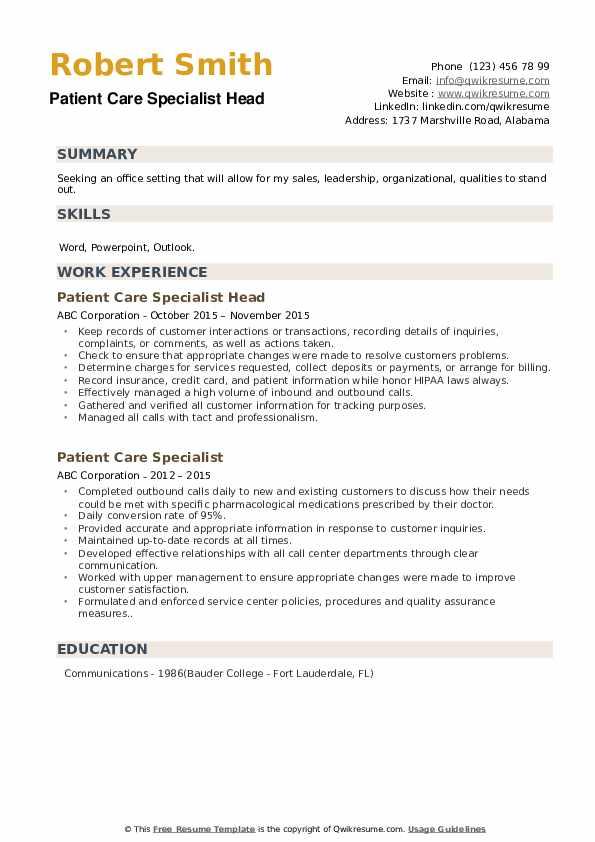 Patient Care Specialist Head Resume Sample