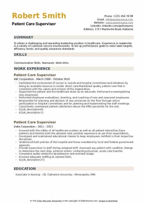 Patient Care Supervisor Resume example