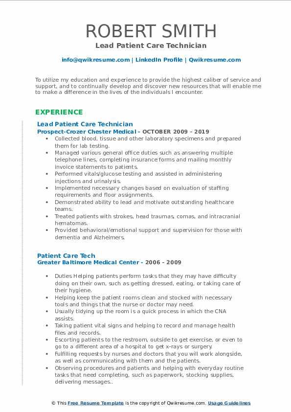 patient care tech resume samples