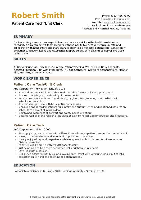 patient care tech resume samples  qwikresume