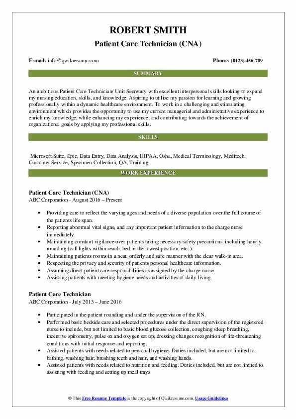 Patient Care Technician (CNA) Resume Model