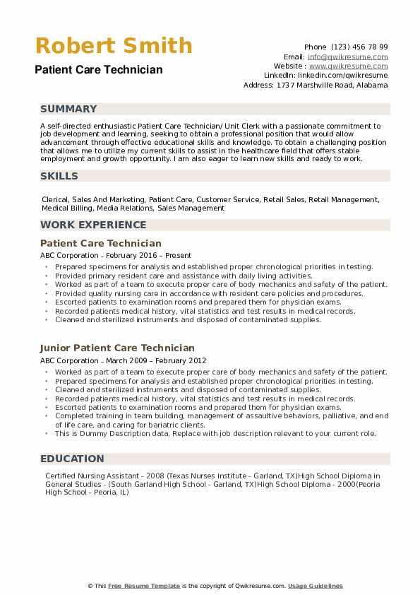 patient care technician resume samples