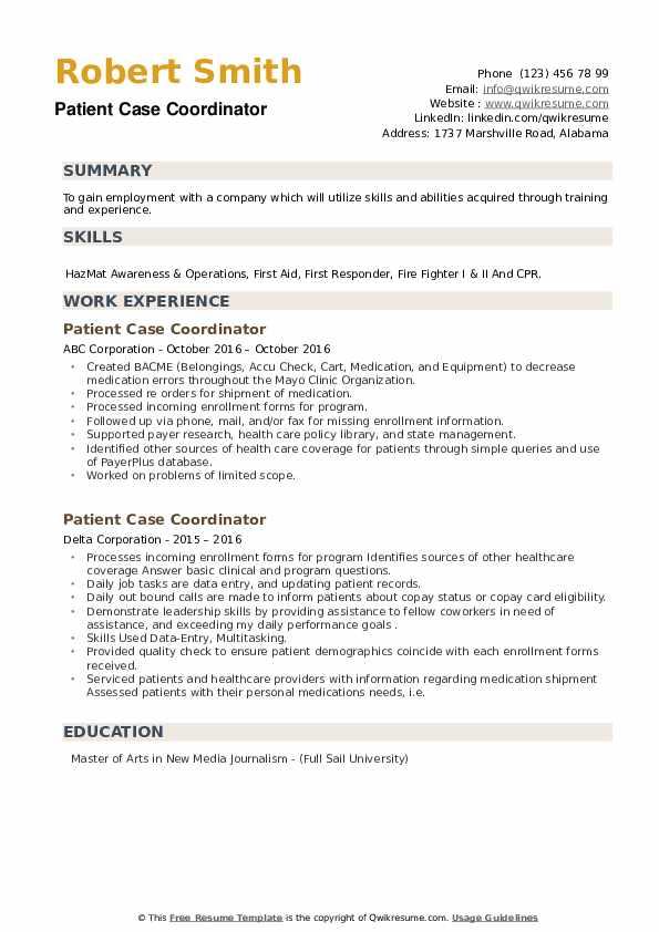 Patient Case Coordinator Resume example