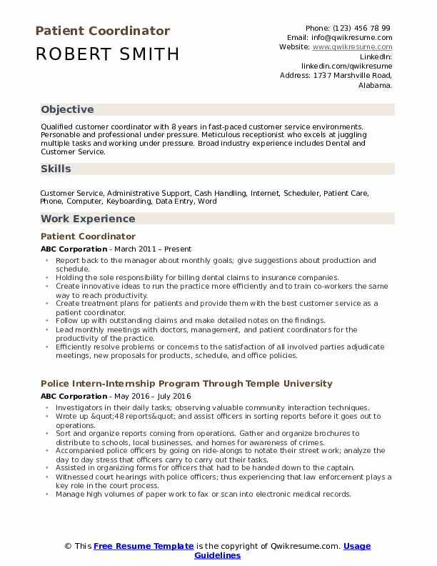 Patient Coordinator Resume Template