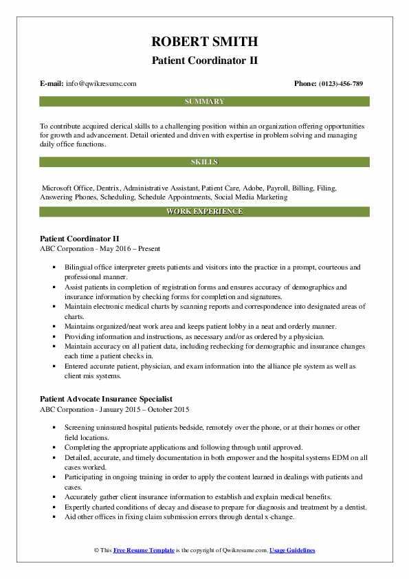 Patient Coordinator II Resume Template