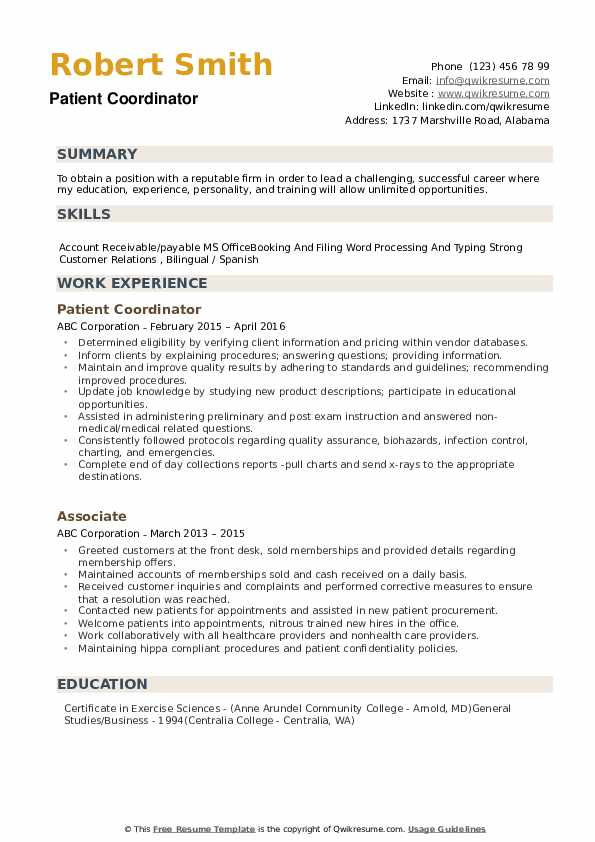 Patient Coordinator Resume example
