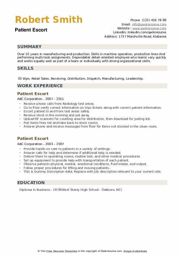 Patient Escort Resume example