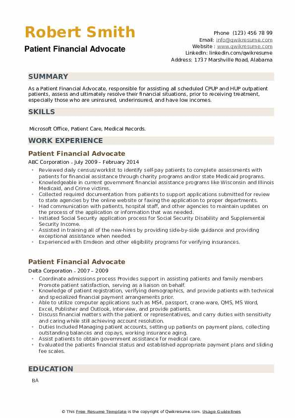 Patient Financial Advocate Resume example