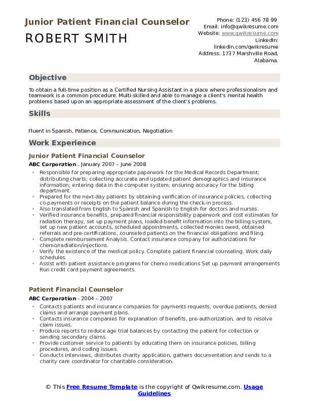 Junior Patient Financial Counselor Resume Model