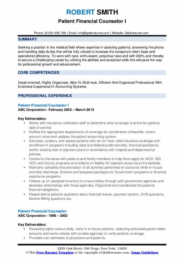 Patient Financial Counselor I Resume Template