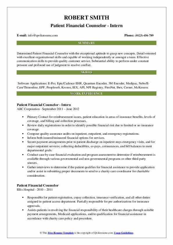 Patient Financial Counselor - Intern Resume Example