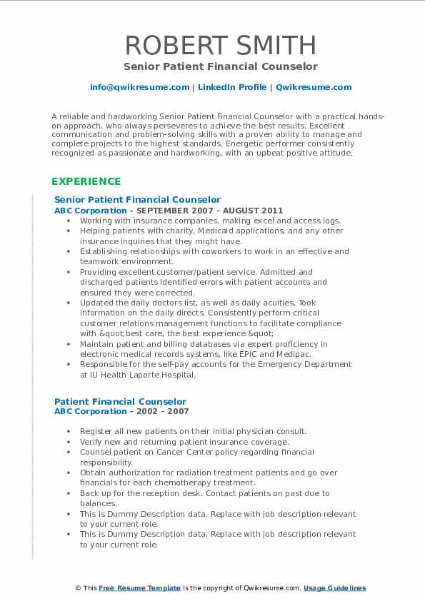 Senior Patient Financial Counselor Resume Example