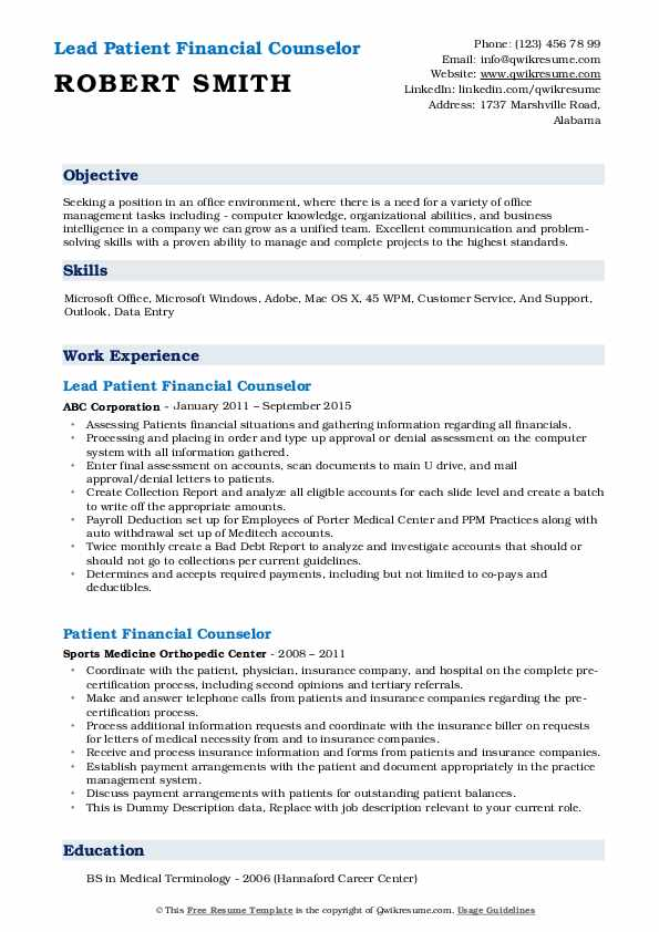 Lead Patient Financial Counselor Resume Template
