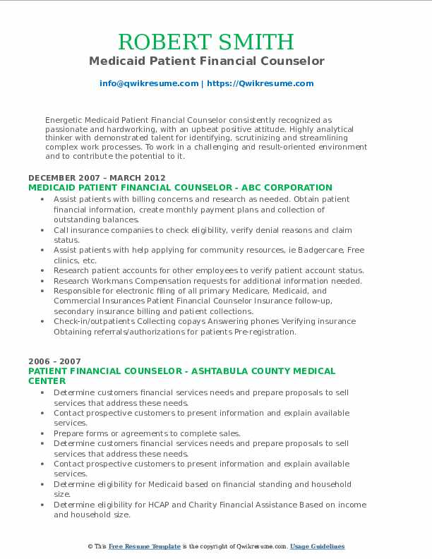 Medicaid Patient Financial Counselor Resume Example