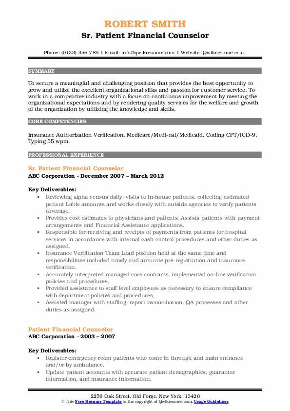 Sr. Patient Financial Counselor Resume Sample