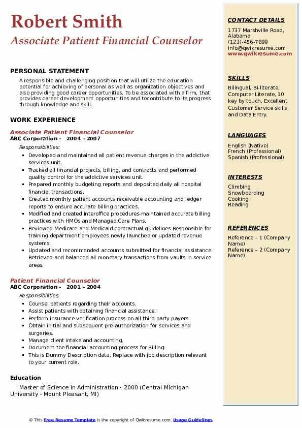 Associate Patient Financial Counselor Resume Model