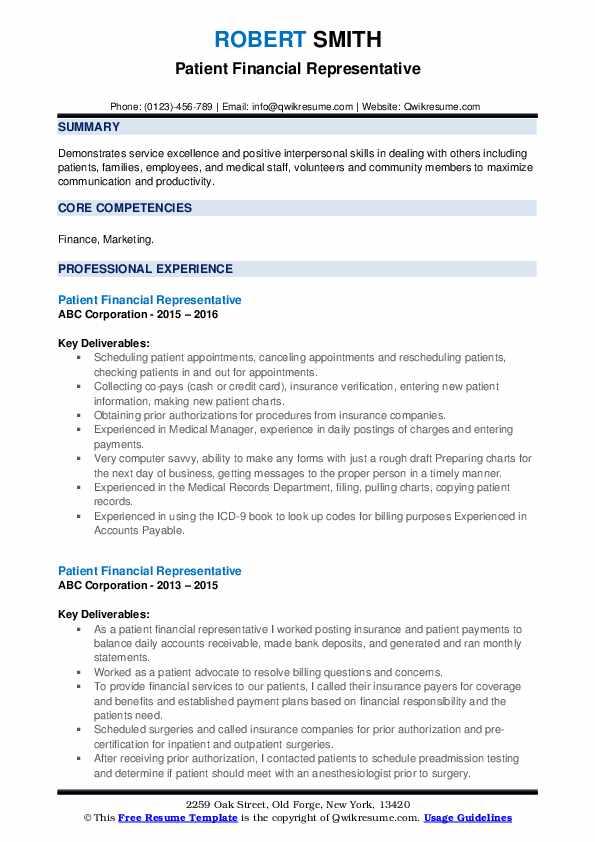 Patient Financial Representative Resume example