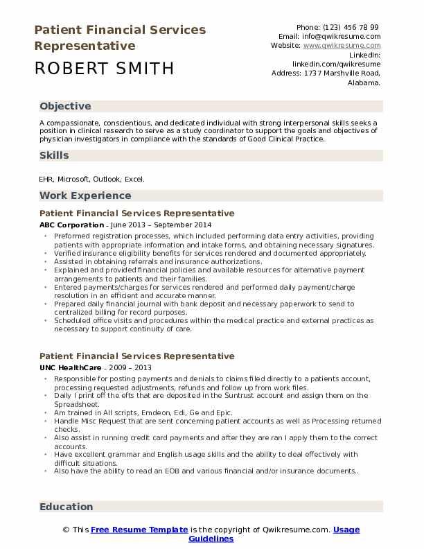 Patient Financial Services Representative Resume Example