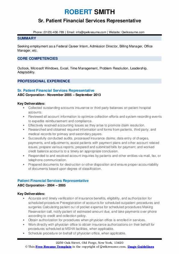 Sr. Patient Financial Services Representative Resume Format