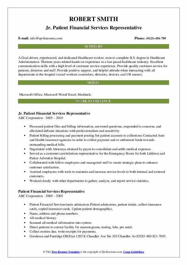 patient financial services representative resume samples