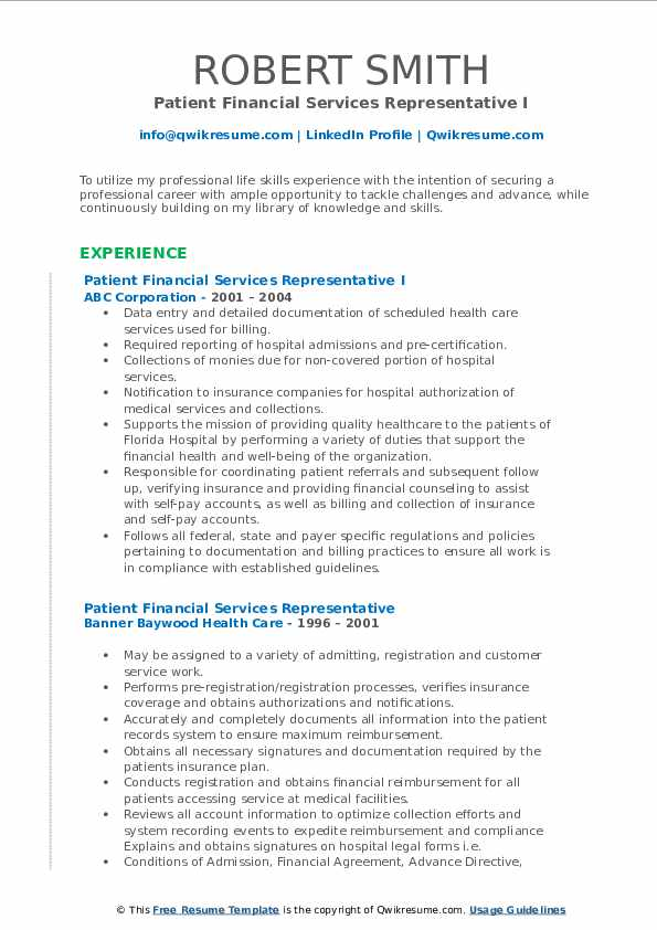 Patient Financial Services Representative Resume Samples