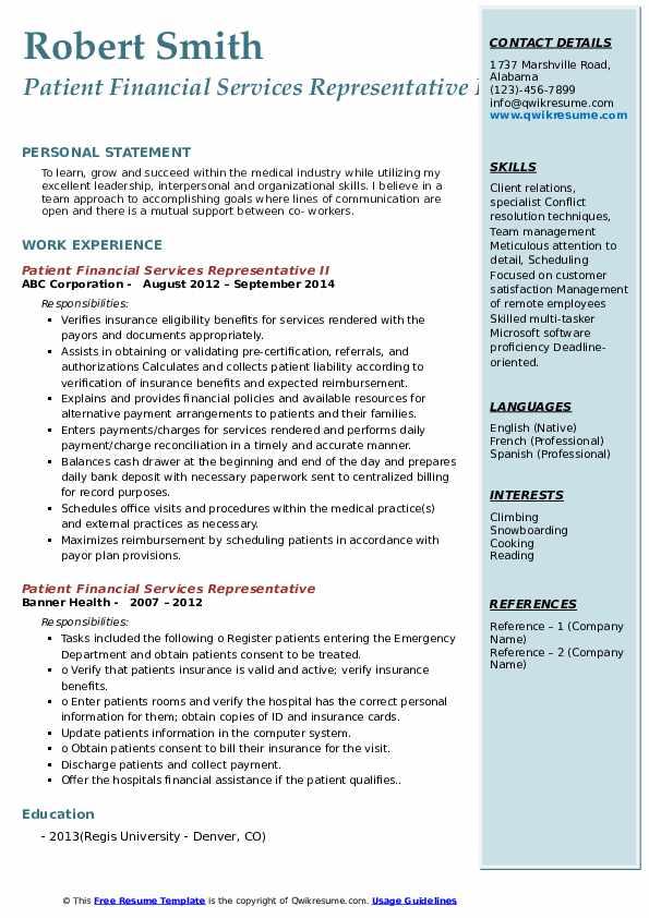 Patient Financial Services Representative II Resume Sample