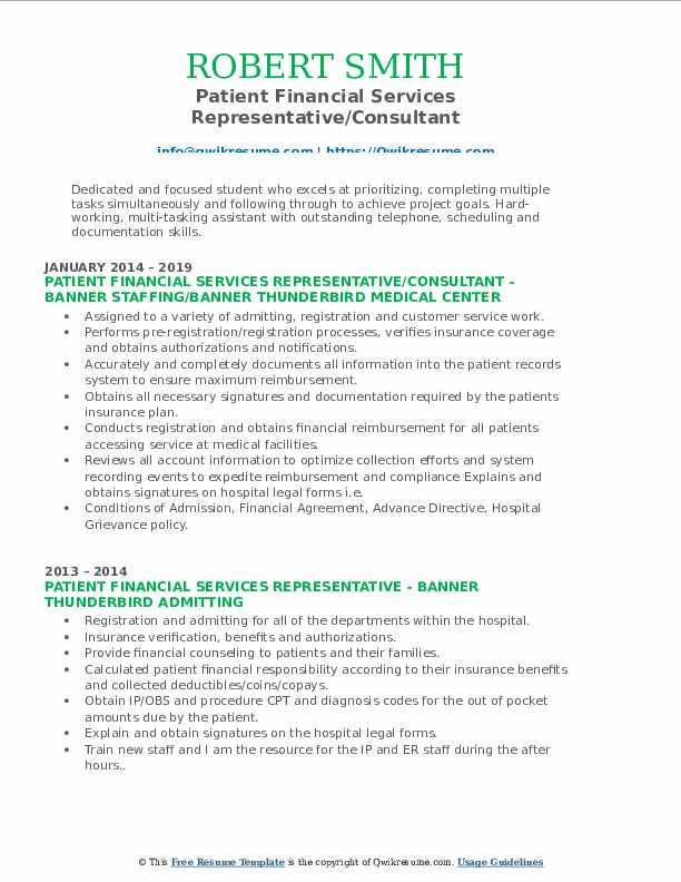 Patient Financial Services Representative/Consultant Resume Sample