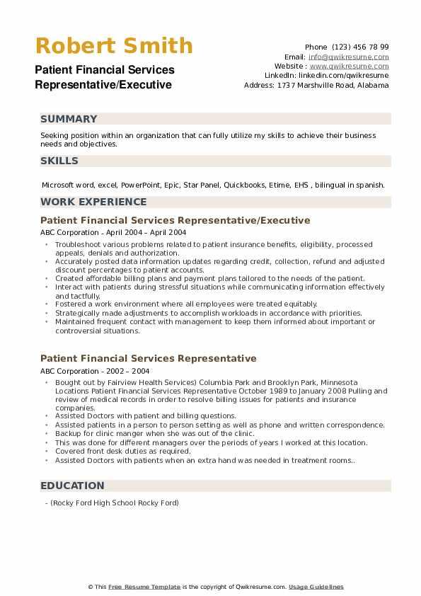 Patient Financial Services Representative/Executive Resume Model
