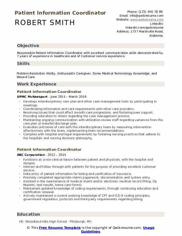 Patient Information Coordinator Resume Model